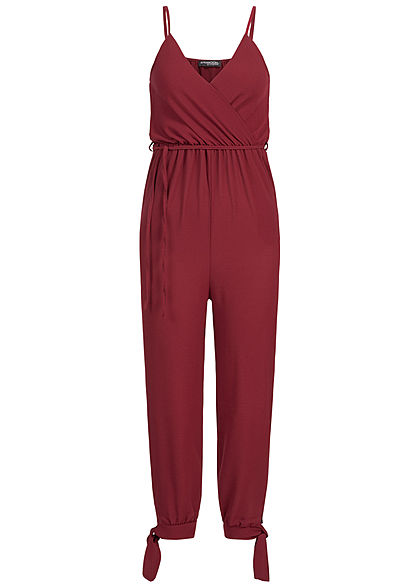 Styleboom Fashion Damen Strap Jumpsuit Belt bordeaux rot - Art.-Nr.: 19056461