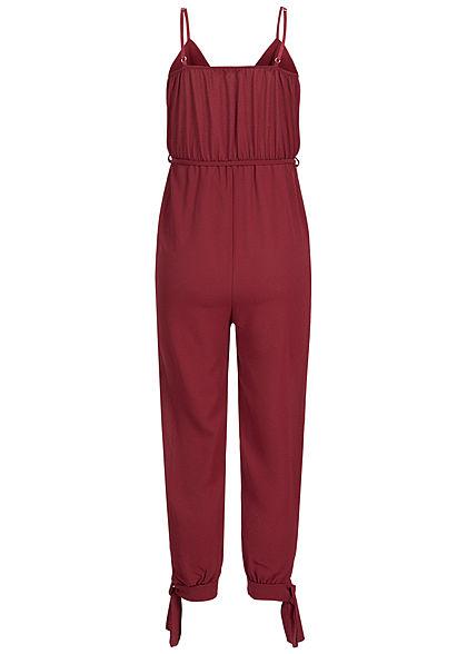 Styleboom Fashion Damen Strap Jumpsuit Belt bordeaux rot
