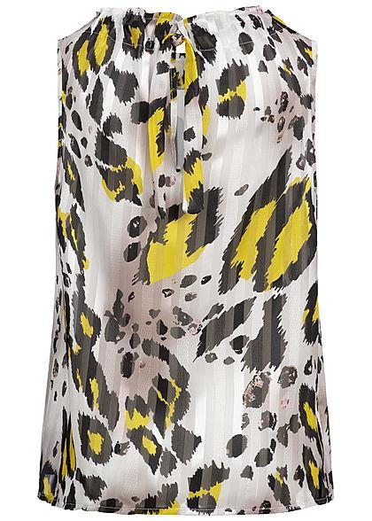 Styleboom Fashion Damen Top Leo Print Glitter Stripes weiss gelb schwarz
