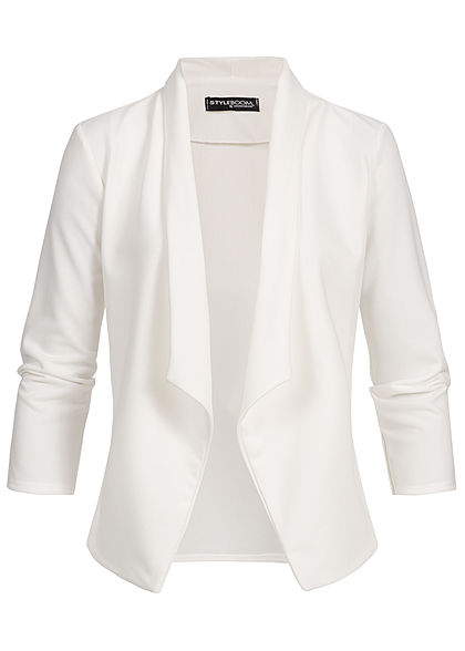 Styleboom Fashion Damen Drapped Blazer weiss