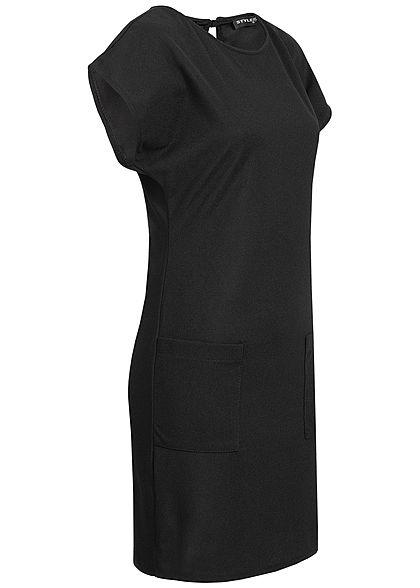 Styleboom Fashion Damen T-Shirt Dress 2-Pockets schwarz