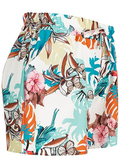 Styleboom Fashion Damen Summer Shorts Floral Print Belt weiss multicolor