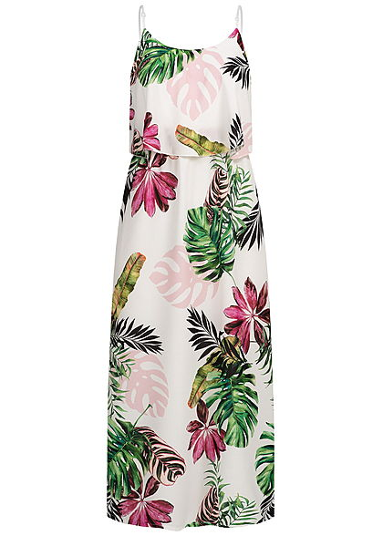 Styleboom Fashion Damen Volant Maxi Strap Dress Tropical Print weiss pink grün