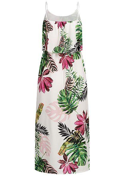 Styleboom Fashion Damen Volant Maxi Strap Dress Tropical Print weiss pink grün