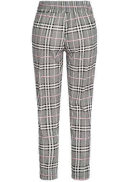 Styleboom Fashion Damen Checked Pants Belt schwarz weiss rosa