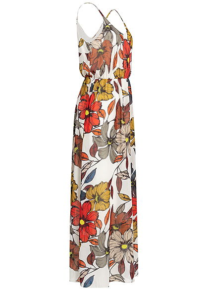 Styleboom Fashion Damen Maxi Strap Dress Floral Print weiss braun