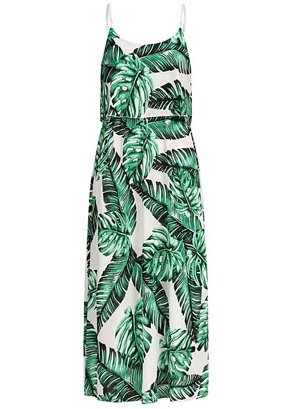 Styleboom Fashion Damen Volant Maxi Strap Dress Leaf Print weiss grün
