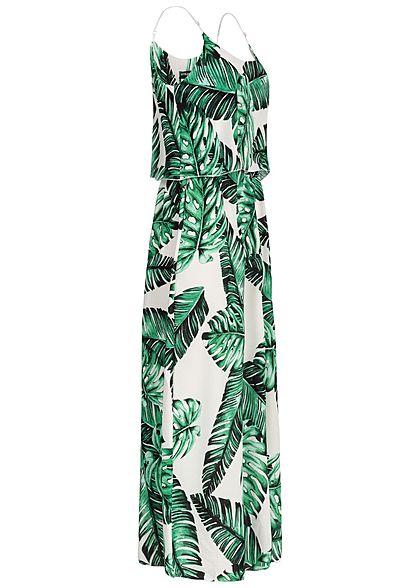 Styleboom Fashion Damen Volant Maxi Strap Dress Leaf Print weiss grün