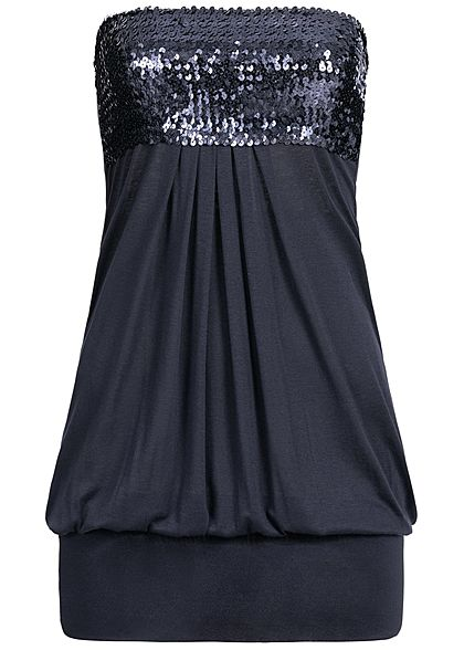 Styleboom Fashion Damen Bandeau Longform Top Sequins navy blau