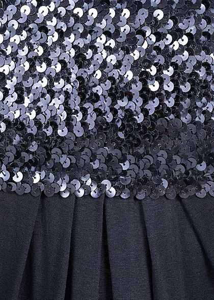 Styleboom Fashion Damen Bandeau Longform Top Sequins navy blau