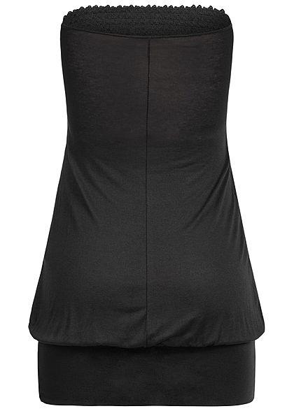 Styleboom Fashion Damen Bandeau Longform Top Sequins schwarz
