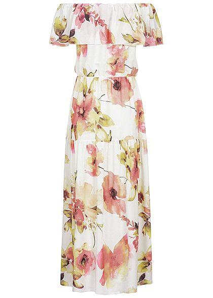 Styleboom Fashion Damen Off-Shoulder Maxi Dress Flower Print weiss rosa