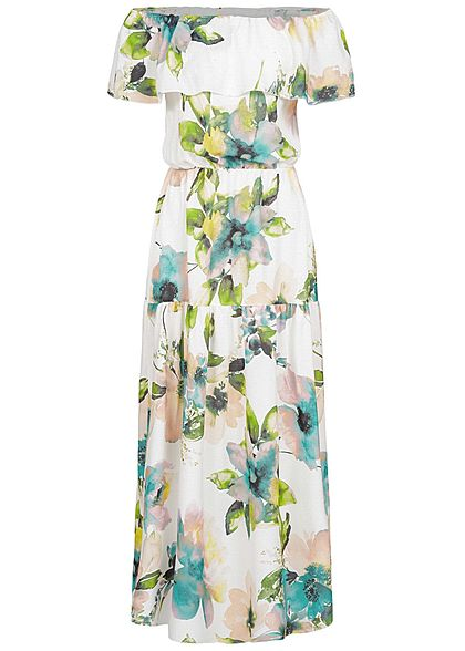 Styleboom Fashion Damen Off-Shoulder Maxi Dress Flower Print weiss grün