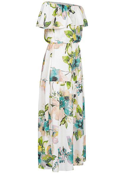 Styleboom Fashion Damen Off-Shoulder Maxi Dress Flower Print weiss grün