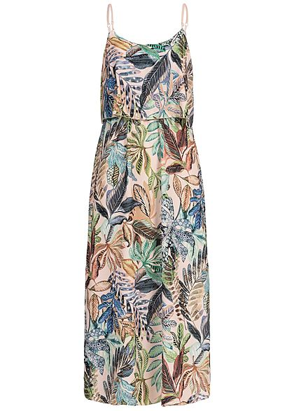 Styleboom Fashion Damen Volant Maxi Strap Dress Tropical Print weiss rosa grün