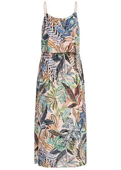 Styleboom Fashion Damen Volant Maxi Strap Dress Tropical Print weiss rosa grün