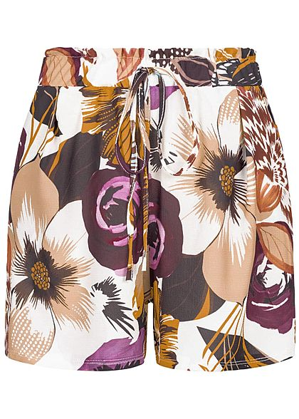 Styleboom Fashion Damen Paper-Bag Shorts Flower Print 2-Pockets multicolor