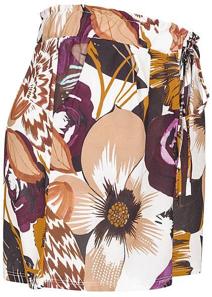 Styleboom Fashion Damen Paper-Bag Shorts Flower Print 2-Pockets multicolor