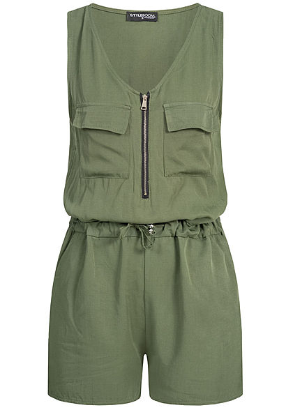 Styleboom Fashion Damen Tailored Playsuit Front Zipper military grün