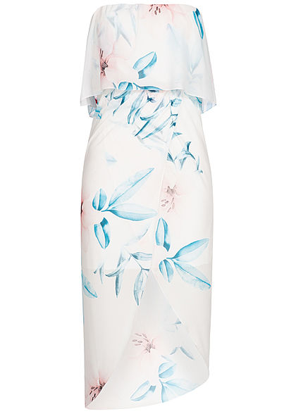 Styleboom Fashion Damen Bandeau Volant Wrapped Dress Flower Print weiss blau