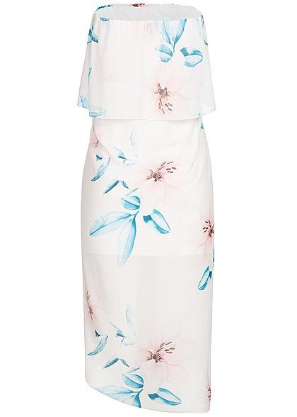 Styleboom Fashion Damen Bandeau Volant Wrapped Dress Flower Print weiss blau