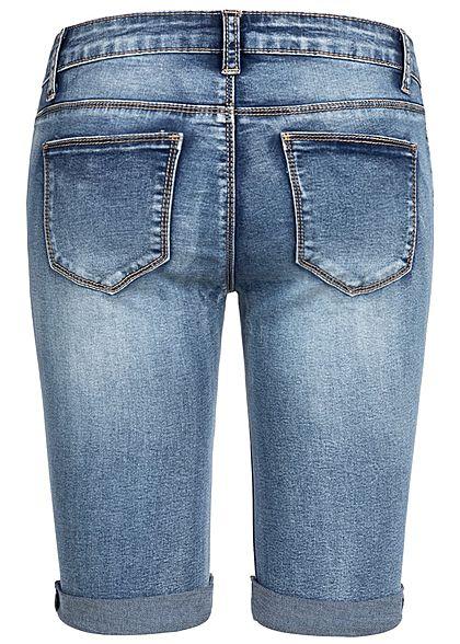 Seventyseven Lifestyle Damen Bermuda Shorts 5-Pockets Destroy Look blau denim