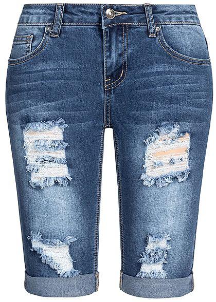 284ece0311ba91 Seventyseven Lifestyle Damen Bermuda Shorts 5-Pockets Destroy Look blau  denim - 77onlineshop