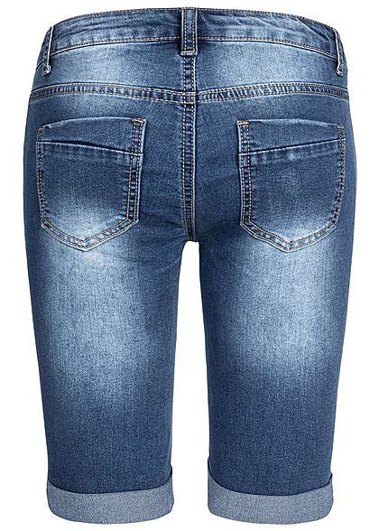Seventyseven Lifestyle Damen Bermuda Shorts 5-Pockets Destroy Look blau denim