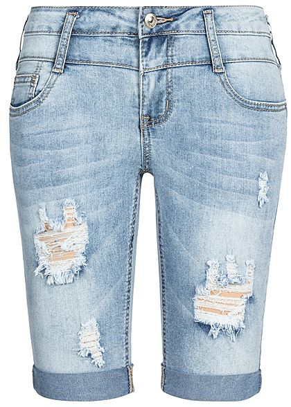 91f3a15338b520 Seventyseven Lifestyle Damen Bermuda Shorts 5-Pockets Destroy Look hell  blau denim - 77onlineshop