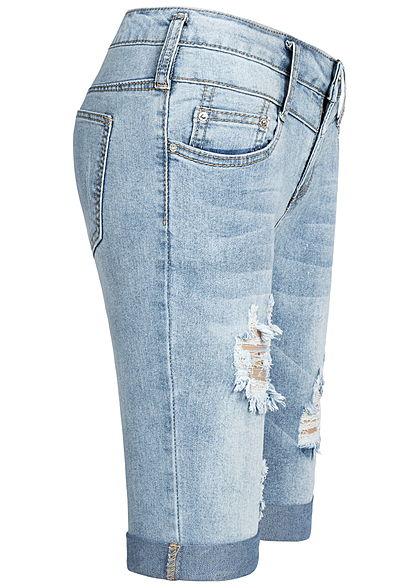 Seventyseven Lifestyle Damen Bermuda Shorts 5-Pockets Destroy Look hell blau denim