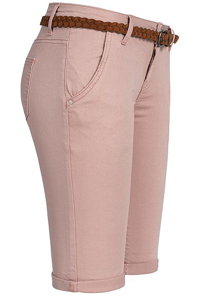 Seventyseven Lifestyle Damen Bermuda Shorts Belt 4-Pockets old rosa denim