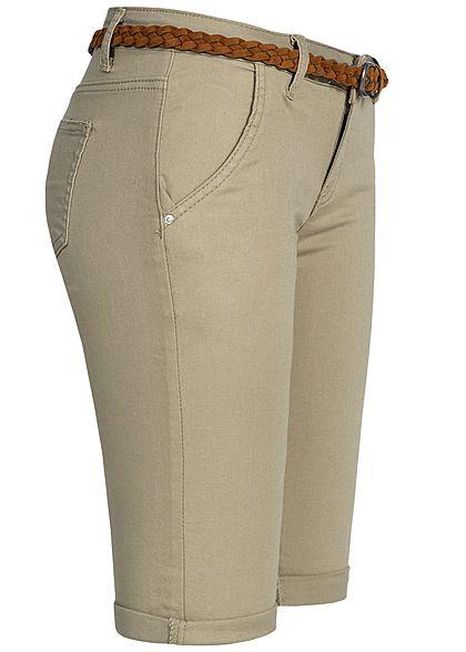 Seventyseven Lifestyle Damen Bermuda Shorts Belt 4-Pockets khaki grün denim