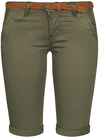 Seventyseven Lifestyle Damen Bermuda Shorts Belt 4-Pockets khaki denim