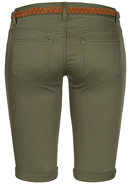 Seventyseven Lifestyle Damen Bermuda Shorts Belt 4-Pockets khaki denim