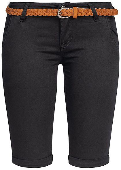neu billig große Auswahl Einkaufen Seventyseven Lifestyle Damen Bermuda Shorts Belt 4-Pockets schwarz denim