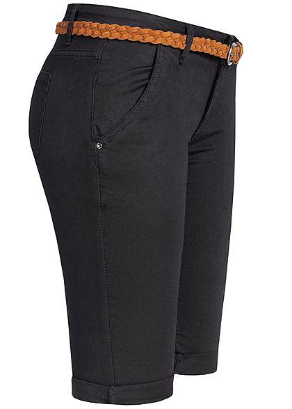 Seventyseven Lifestyle Damen Bermuda Shorts Belt 4-Pockets schwarz denim