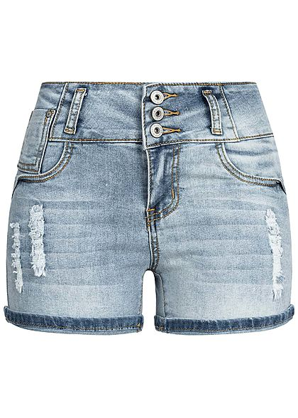 Seventyseven Lifestyle Damen High-Waist Shorts 5-Pockets Destroy Look hell blau denim