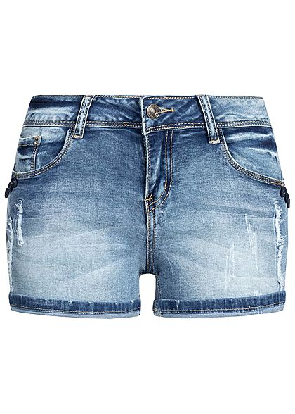 Seventyseven Lifestyle Damen Denim Shorts 5-Pockets Destroy Look medium blau