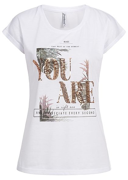 Seventyseven Lifestyle Damen T-Shirt You Are Sequins Front weiss kupfer gold