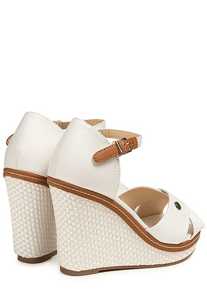 Seventyseven Lifestyle Damen Buckle Wedges Sandals off weiss braun