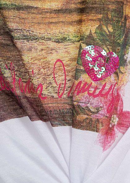 Seventyseven Lifestyle Damen T-Shirt Twist Front Beach Print weiss grün rosa