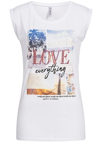 Seventyseven Lifestyle Damen T-Shirt Love Sequins Front weiss rosa