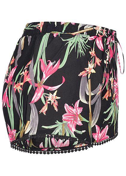 Seventyseven Lifestyle Damen Summer Shorts Floral Print schwarz pink
