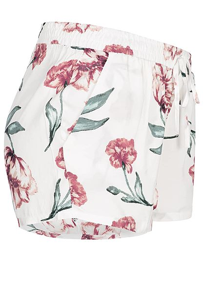 Seventyseven Lifestyle Damen Shorts 2-Pockets Flower Print off weiss rot