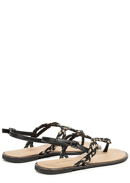 Seventyseven Lifestyle Damen Toe Post Weave Sandals schwarz