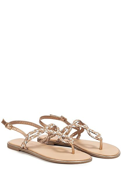 Seventyseven Lifestyle Damen Toe Post Weave Sandals rose gold