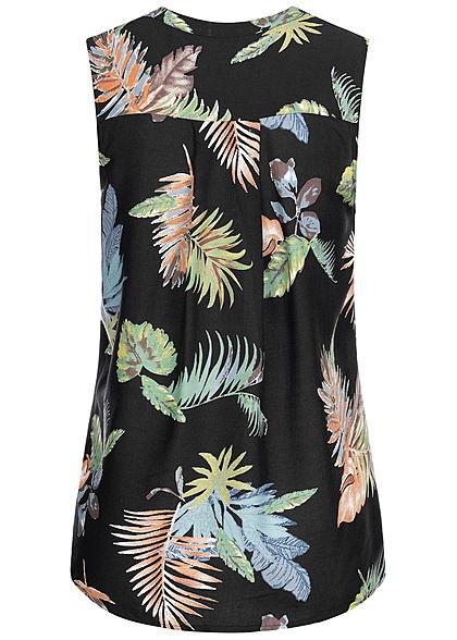Seventyseven Lifestyle Damen Blouse Top Floral Print schwarz multicolor