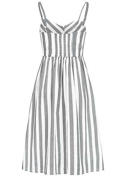 Seventyseven Lifestyle Damen Striped Strap Dress Buttons Front schwarz weiss
