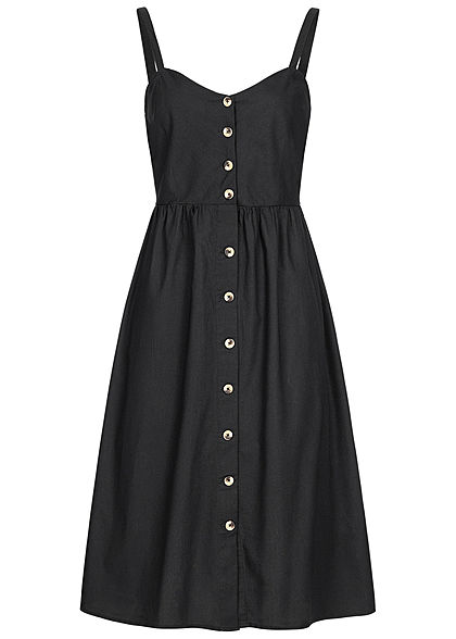 Seventyseven Lifestyle Damen Strap Dress Buttons Front schwarz