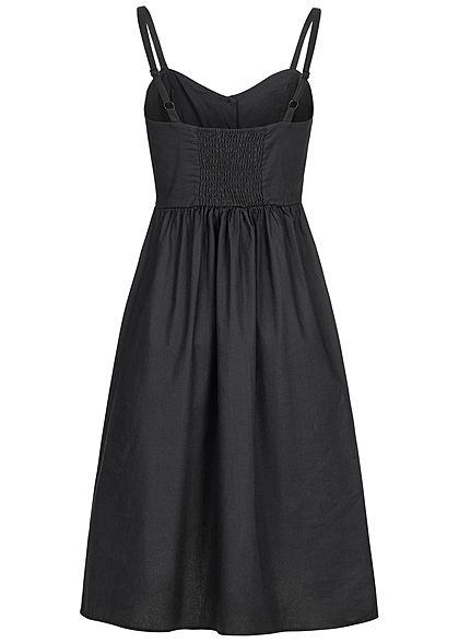 Seventyseven Lifestyle Damen Strap Dress Buttons Front schwarz